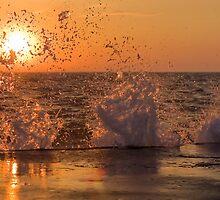 Wave Crashes Into Sunset by Davinchi
