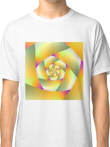 Yellow Pink and Green Spiral Classic T-Shirt