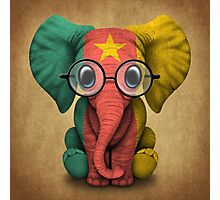 Baby Elephant with Glasses and Cameroon Flag Photographic Print