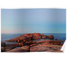dusk, coastline rocks. eastcoast, tasmania Poster
