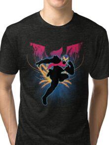Super Smash Bros. Blue Captain Falcon Silhouette Tri-blend T-Shirt