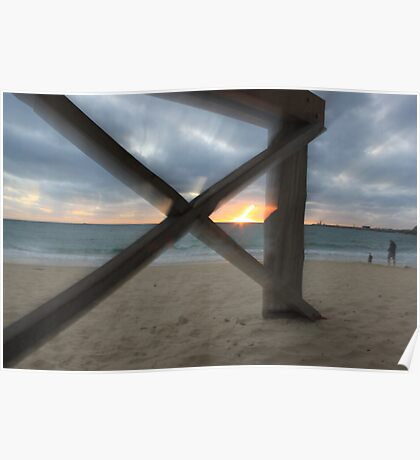 Blurred Wharf and Ocean Poster