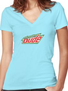 Mountain Dude Women's Fitted V-Neck T-Shirt