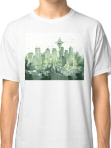 Seattle Watercolor Space Needle Skyline Classic T-Shirt