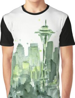 Seattle Watercolor Space Needle Skyline Graphic T-Shirt