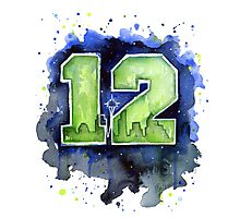 Seahawks Art 12th Man Watercolor Painting Photographic Print