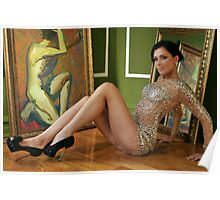 Pretty woman in vintage gown sitting on the floor Poster