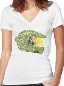 Halo text Art Women's Fitted V-Neck T-Shirt