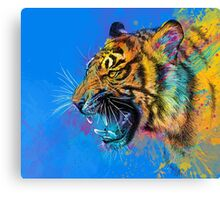 Roaring Tiger Colorful Illustration Wild Animal Canvas Print