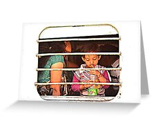 Train Passenger Kid in India Greeting Card