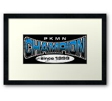 Pokemon Champion_Blue_DarkBG Framed Print