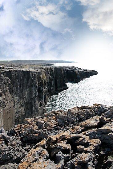 burren cliff edge view by morrbyte