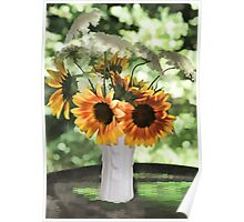 Vase of Sunflowers and Queen Anne's Lace Poster