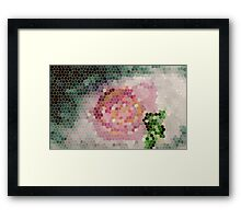 Stained glass look for Rose painting, watercolor Framed Print