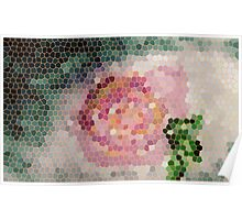 Stained glass look for Rose painting, watercolor Poster
