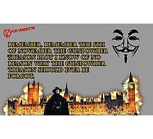 5th Of November V for Vendetta Photographic Print