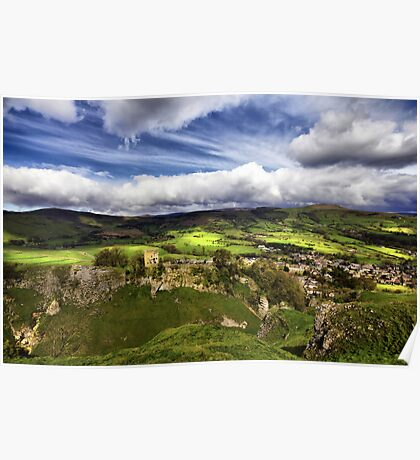 Mam Tor, Peveril Castle, Lose Hill And Castleton Poster