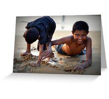 Boys playing at Varkala Beach Greeting Card