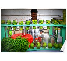 Man Sells Lime Juice, Calcutta, India Poster