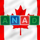 canada and flag in toy block letters by morrbyte