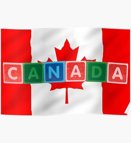 canada and flag in toy block letters Poster