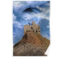 castle ruin with full moon Poster