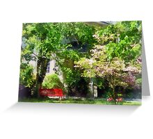 Red Bench by Pink Tree Greeting Card