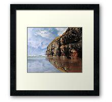 cliff reflection on ballybunion beach Framed Print
