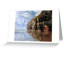 cliff reflection on ballybunion beach Greeting Card