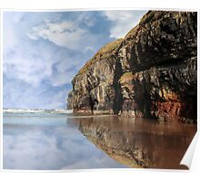 cliff reflection on ballybunion beach Poster