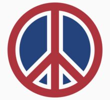 Red, White, and Blue Peace Sign One Piece - Long Sleeve