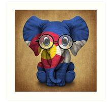 Baby Elephant with Glasses and Colorado Flag Art Print