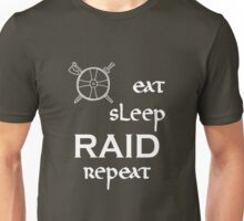 eat-sleep-RAID-repeat white, Vikings Unisex T-Shirt