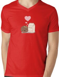 Cute Cookies and Milk (pink) Mens V-Neck T-Shirt