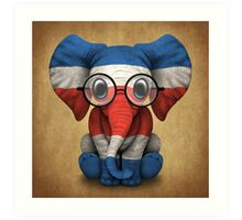 Baby Elephant with Glasses and Costa Rican Flag Art Print