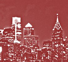 Philadelphia Skyline Panorama - Phillies by John Brady
