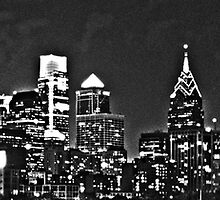 Philadelphia Skyline Panorama - Monochrome by John Brady