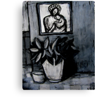 madonna and child,pot plant and dog bowl Canvas Print