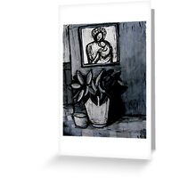madonna and child,pot plant and dog bowl Greeting Card