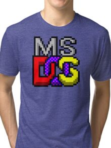 MS-DOS Icon Retro Pixel Computer Symbol Tri-blend T-Shirt