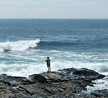 Fishing On The Rocks At the end of Conanicut Island, Rhode Island by Jane Neill-Hancock