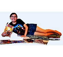 Geeky Pin-Up: Comic Book Girl Photographic Print