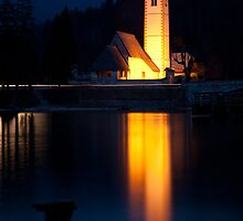 Church at dusk by Ian Middleton