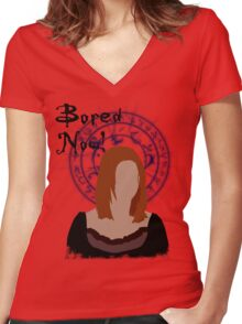 Bored now! Women's Fitted V-Neck T-Shirt