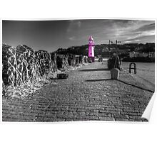Pink Lighthouse of St Ives Poster