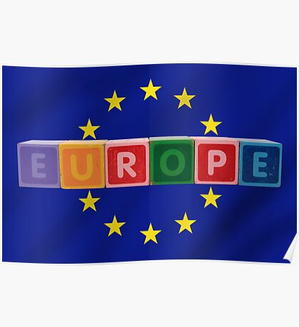 europe and flag in toy letters Poster