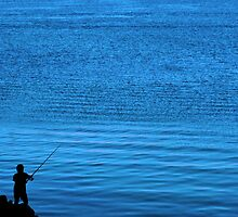 father and son fishing silhouette by morrbyte