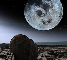 full moon and boulders in rocky burren landscape by morrbyte