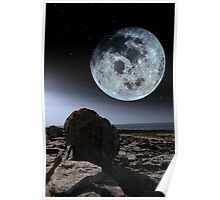 full moon and boulders in rocky burren landscape Poster