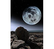 full moon and boulders in rocky burren landscape Photographic Print